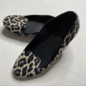 Ann Taylor Cream & Black Leopard Ballet Flats